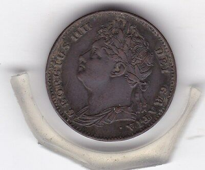 Sharp  1822   King  George  IV   Farthing  (1/4d)  British  Coin