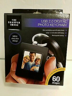SHARPER IMAGE~DIGITAL PHOTO KEYCHAIN~NEW Holds 60 Color Images RECHARGEABLE