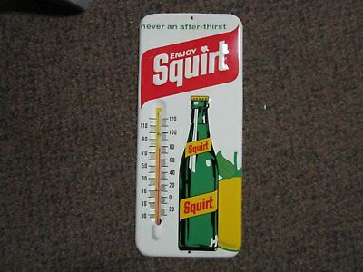 Vintage 1971 Metal Enjoy Squirt Thermometer Advertising Sign Works USA Soda
