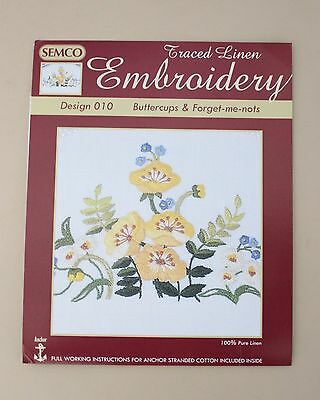 Rare Semco Traced linen Embroidery Buttercups & Forget-me-nots - to embroider.