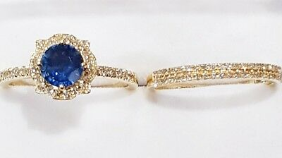 Blue sapphire  and Diamonds 18K yellow gold Ring wedding band set certificated