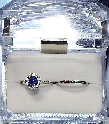 Blue sapphire  and Diamonds 18K  White Gold Ring wedding band set certificated