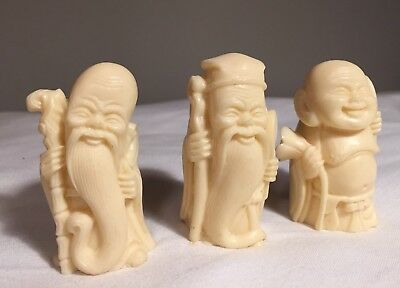 "Vintage Buddha Figurines Faux I Bone Carved Resin?  Set 3 -2.25""h Happy Chinese"