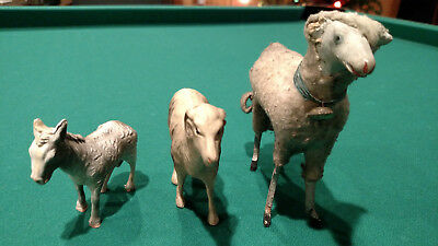 Vintage German Sheep, Plastic/Celluloid Ram and Donkey