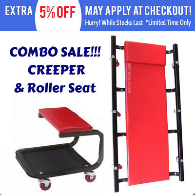 "GARAGE CREEPER 36"" Castor Wheels Trolley & ROLLER SEAT COMBO SET TOOLS"