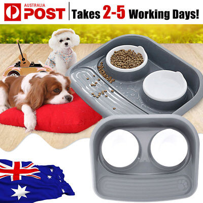 Twin Pet Food Water Feeding Bowl Cat Dog Puppy Double Dish Portable Non Slip