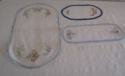 Lot-3 vintage embroidered doilies-all in blue shades-VGVC!!!