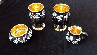 Vintage Prinknash Abbey Pottery 4 pieces - 24 kt gold hand tankards bowl & jug