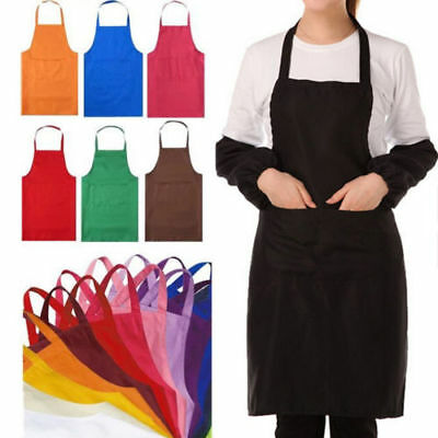 Fashion Men Women Solid Cooking Kitchen Restaurant Bib Apron Dress with Pocket