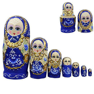 7 Russian Nesting Dolls Toy Wooden Matryoshka Hand Painted Xmas Doll Set Gift