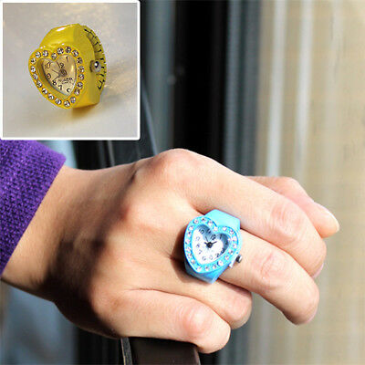 Fashion Cute Finger Accessory Women heart-shaped ring watch Colourful Gift table