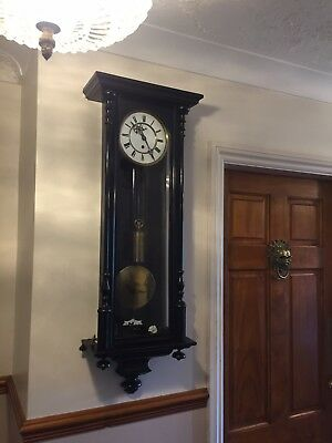 Antique Clock Ebonised Single Weighted Wall Clock