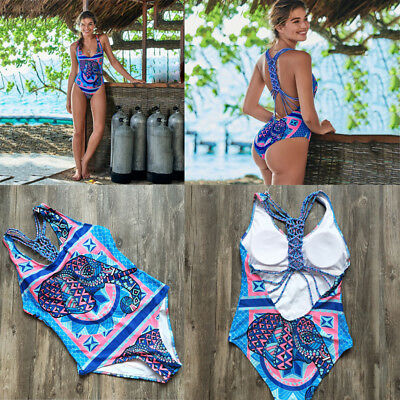 Women One-Piece Push Up Bikini Bandage Monokini Swimsuit Bathing Swimwear Beach