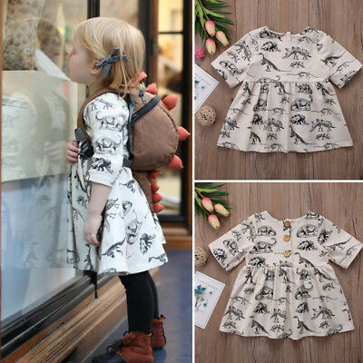 AU Kids Baby Girls Animal Half Sleeve Dinosaur Dress Outfits Clothes One-Piece