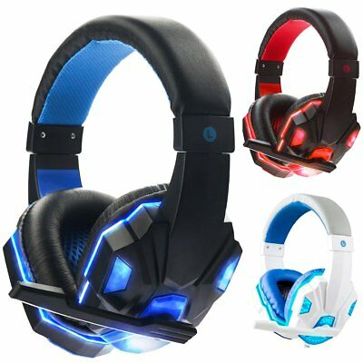 LED Gaming Headset Stereo Surround Headphones 3.5mm Wired With Mic For PC Laptop
