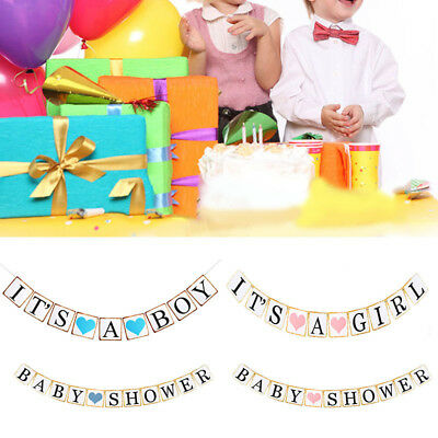 Baby-Shower Banner It's A Girl Boy Hanging Bunting Garland Party Decoration 1 x
