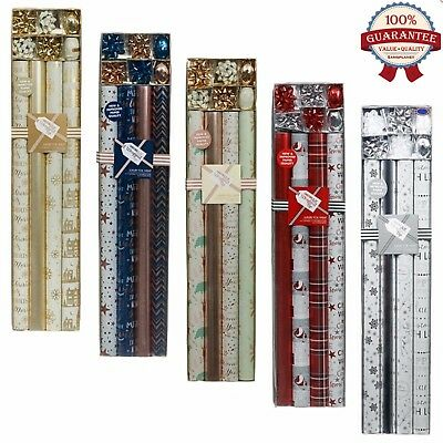 Luxury Foil CHRISTMAS WRAPPING PAPER 4pk -5 DESIGNS/COLOUR with Ribbon/Bow