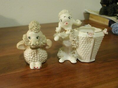 Two Spaghetti Hobnail Poodle Vasses - Very Nice