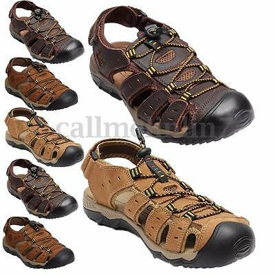 Men New Outdoor Beach Shoes Fisherman Closed Toe Sandals Sports Leather Flats SZ