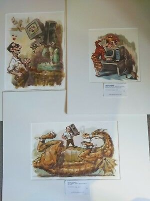3 Original Caricature IT Themed Watercolour/Ink Illustrations