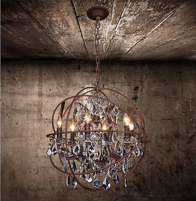 "Foucault's Orb Clear K9 Crystal Chandelier 22"" Rustic Iron Globe Ceiling Lamp"