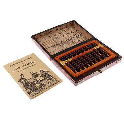 Vintage Chinese Wooden Bead Arithmetic Abacus with Box Calculator Counting