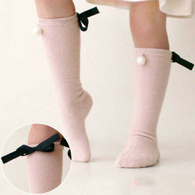 Baby Girls Knee High Socks Pearl Bowknot Cotton Knitted Kids Fashion Knee Socks