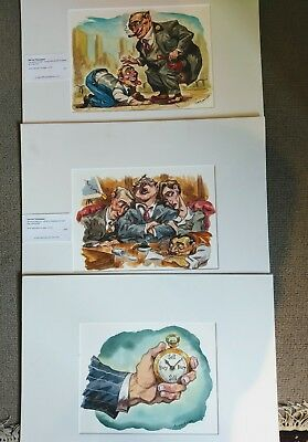 3 Original Caricature Business Themed Watercolour/Ink Illustrations