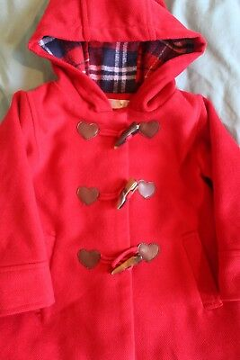 Girls M&Co Red Winter Duffle Coat. Age 12-18 Months With Toggle Fastener
