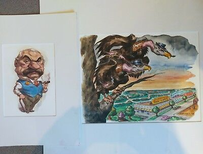 2 Original Caricature Watercolour/Ink Illustrations by Darren Thompson