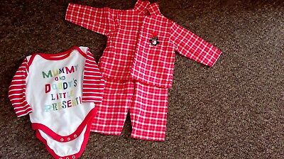 3-6 month nu meg pjamas with penquin motif, and mummy and daddy vest