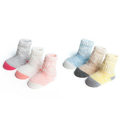 3 Pairs Infant Kids Boys Girls Soft Striped Cotton Warm Socks Casual Chic 0-3Y