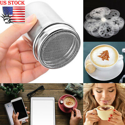 US Stainless Steel Chocolate Shaker Icing Sugar Powder Cocoa Flour Coffee Sifter