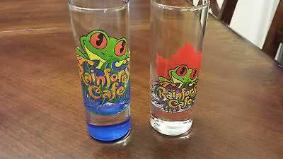 2 Rainforest Cafe shot glasses Connecticut -blue & Niagara Falls, Canada - new