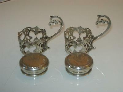 2 Antique Hallmarked Silver Cup Holders & 2 Silver Jar Lids