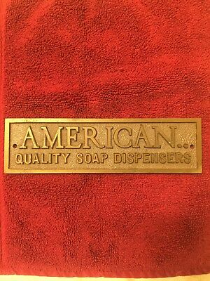 Advertising Brass 7 in. X 2 in. American Soap Dispenser Sign Great For Deco Look