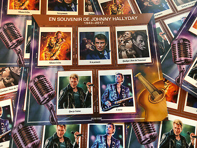 Vignettes timbres Johnny Hallyday 1943 - 2017 souvenir hommage COLLECTOR 5000 ex