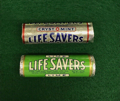 Two 1950s Unopened Life Savers Candy Rolls LIME + CYRST O MINT Old Store Stock