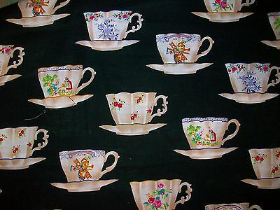 Alexander Henry Collection Teacups Black Background Cotton Fabric 3/4 yard OOP