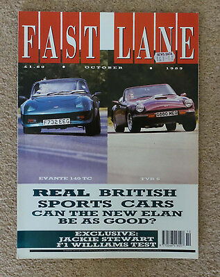 Fast Lane October 1989 TVR 350SX S XJRS Hartge BMW Z1 Williams F1 Maserati 430