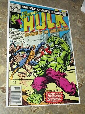 Incredible Hulk 212 VF+ 8.5 Bronze Age 1st App of the Constrictor