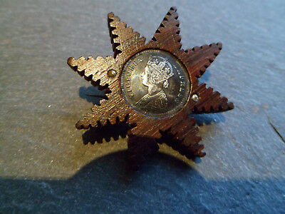 STUNNING - VERY RARE TRAMP ART Victorian Solid Silver Coin and Wood Brooch