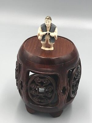 Old Japanese Carved Cattle Bone Netsuke Man Pouring Saki Into Cup ~ Signed