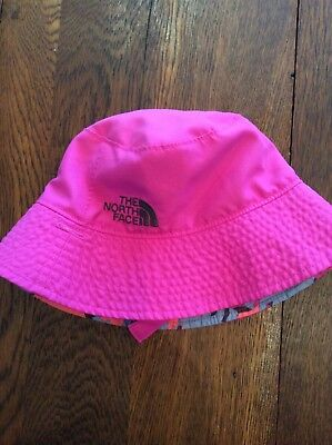 Toddler Girls North Face Reversible Sun Hat Size 12-18 Months Pink Preowned