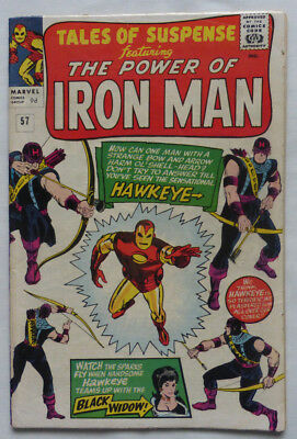 TALES OF SUSPENSE #57, IRON MAN AND 1st HAWKEYE, CLASSIC SILVER AGE MARVEL, 1964