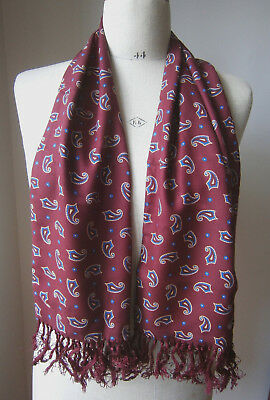 VINTAGE TOOTAL 1950s BURGUNDY & BLUE PAISLEY PRINT MENS RAYON SCARF GOODWOOD