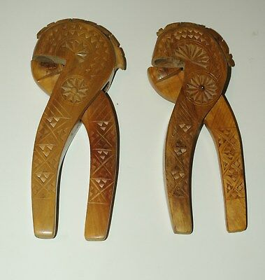Pair Of Antique  Figural Hand Carved Nutcrackers