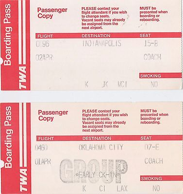 Vintage TWA Boarding Pass Lot of 2 USED