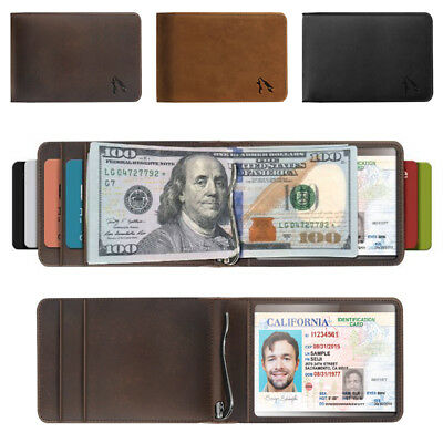 Men's Real Genuine Leather RFID Blocking Bifold Money Clip Wallet with ID Window