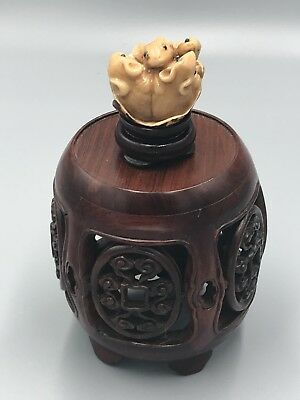 Old Japanese Carved Cattle Bone ~ Mice Mouse Family In Walnut Shell  ~ Signed